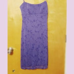 Purple flower design mini dress